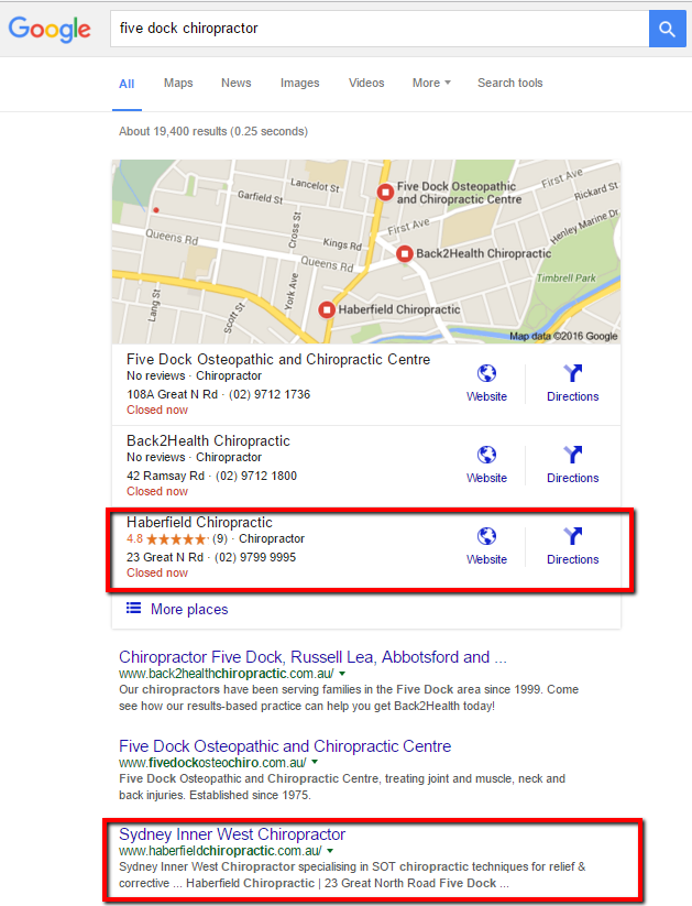 Haberfield Chiropractic - local SEO services